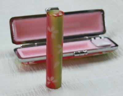 画像1: 和ざいくはんこ(桜)花柄印鑑 12mm丸