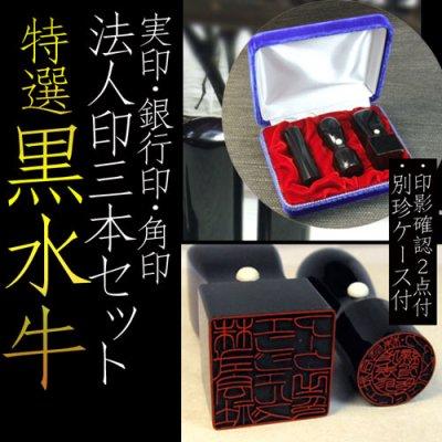 画像1: 黒水牛 会社設立印3本セット(代表印18mm丸+銀行印16.5mm+21 or 24mm角)