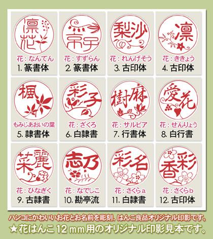 花印の印影文字サンプル