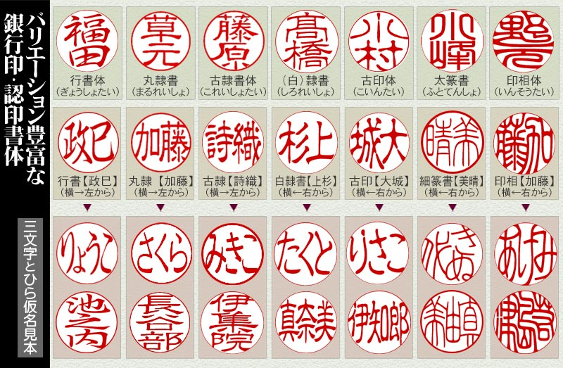 銀行印・認め印の文字印影サンプル